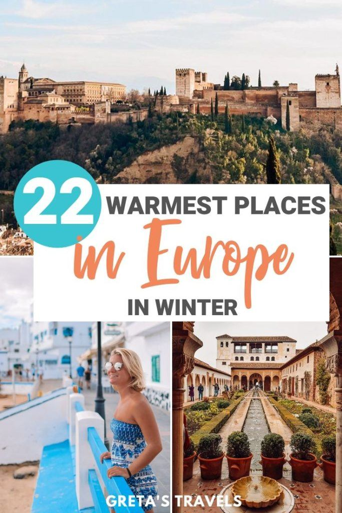"Collage of the Alhambra of Granada and the streets of Corralejo in Fuerteventura with text overlay saying ""22 warmest places in Europe in winter"""