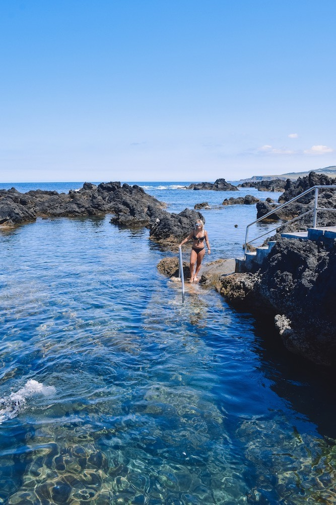 The natural rock pools of Biscoitos on Terceira Island in the Azores