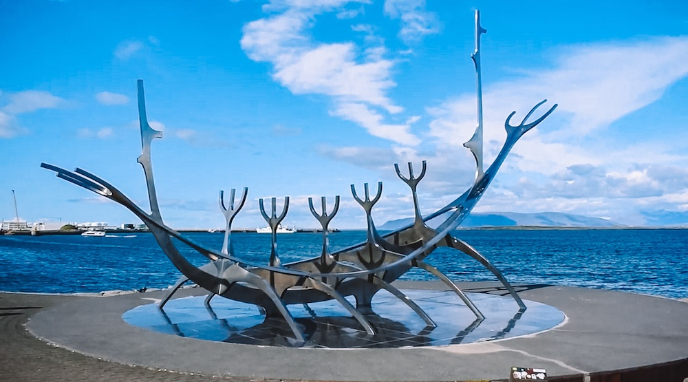 The Sun Voyager viking ship sculpture along the harbour of Reykjavik