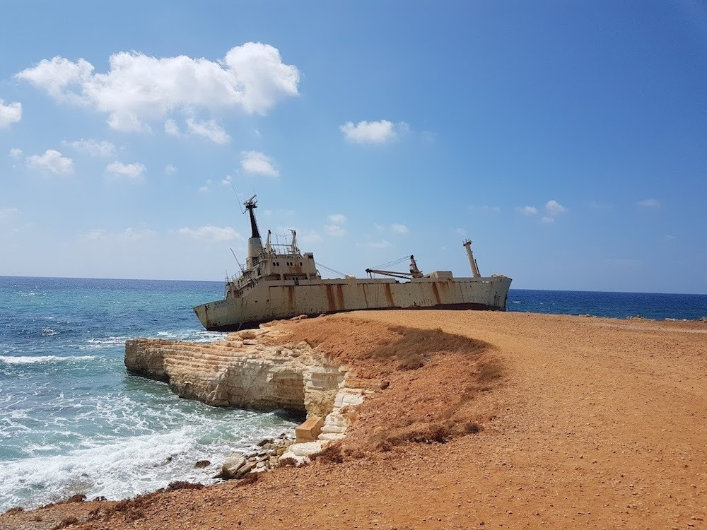 One of the shipwrecks in Paphos, Cyprus, photo by Dave's Travel Pages