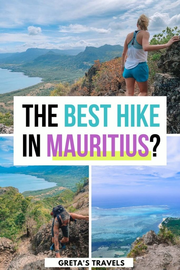 """Collage of different views from the top of Le Morne Brabant in Mauritius, with text overlay saying """"the best hike in Mauritius?"""""""