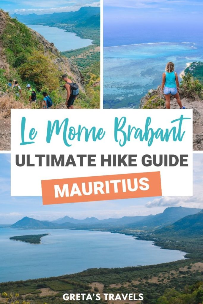 """Collage of different views from the top of Le Morne Brabant in Mauritius, with text overlay saying """"Le Morne Brabant, Mauritius: ultimate hike guide"""""""