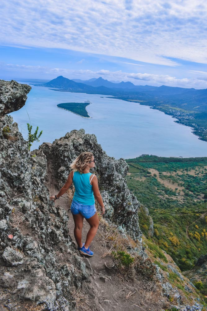 Enjoying the views from the top of Le Morne Brabant