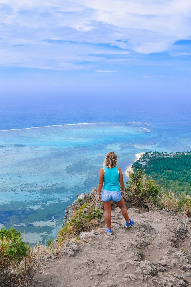 Enjoying the view from the top of Le Morne Brabant in Mauritius
