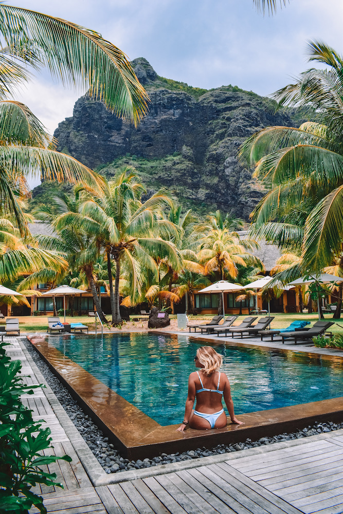 One of the smaller pools in the private villa crescents at the Dinarobin Beachcomber, Mauritius