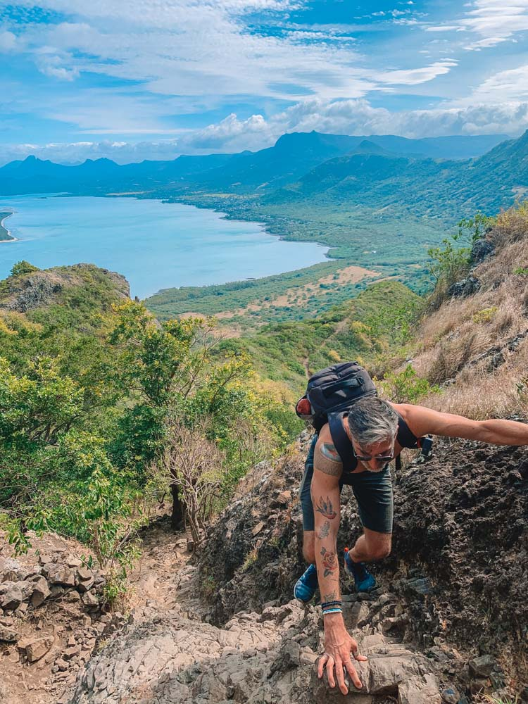 Climbing up Le Mont Brabant in Mauritius