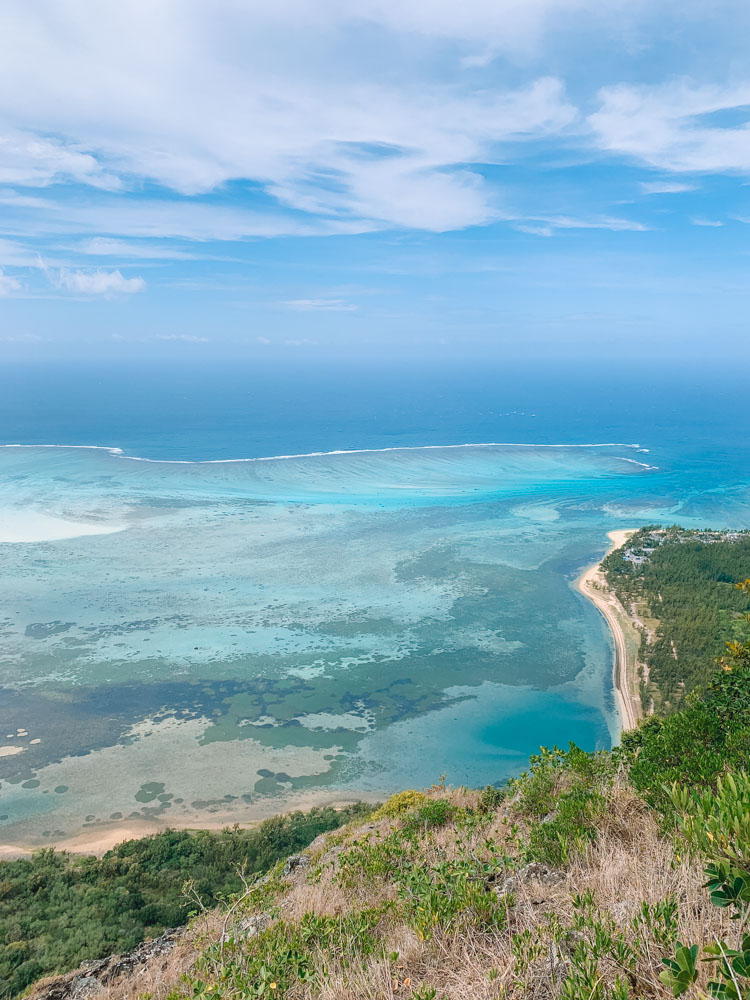 Loving all the different shades of blue that you can see from the top of Le Morne Brabant