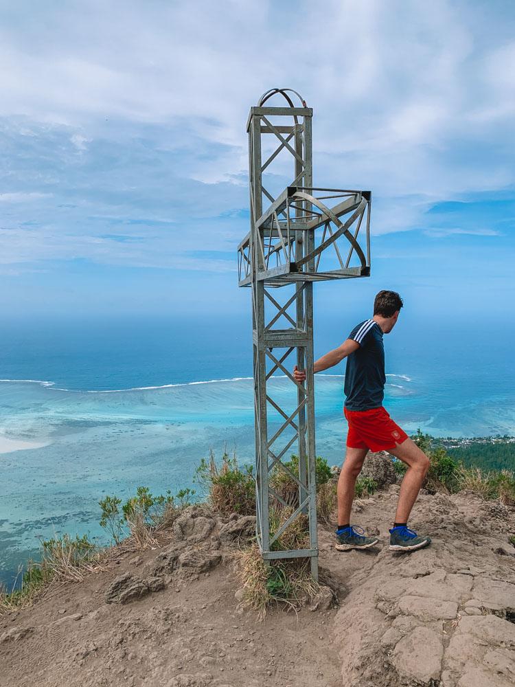 Metal cross at the peak of Le Morne Brabant, Mauritius