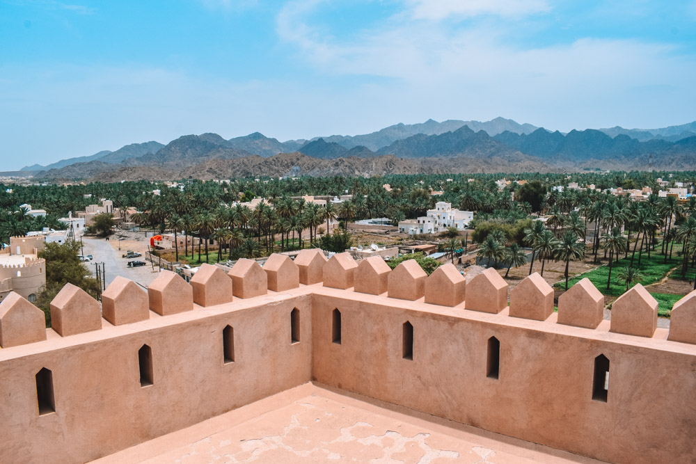 The view from the walls Al Rustaq fort in Oman
