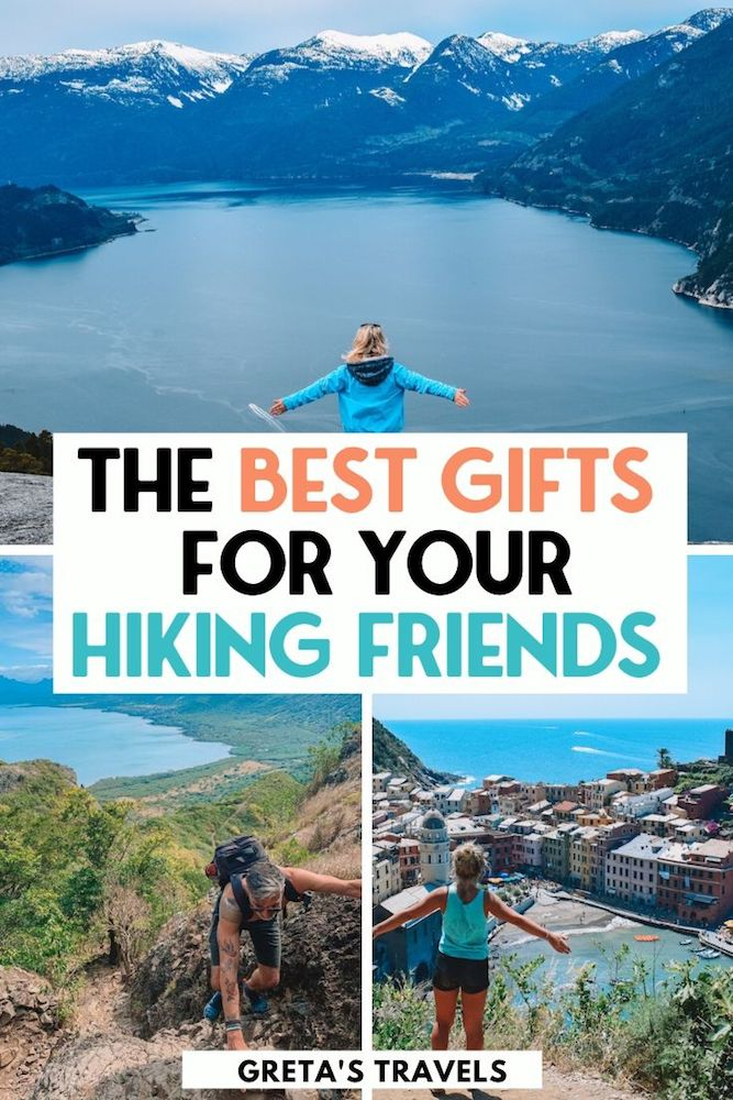"""Photo collage of three famous hikes in Canada, Mauritius and Italy with text overlay saying """"the best gifts for your hiking friends"""""""