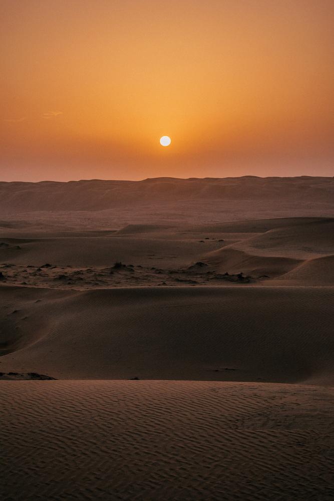 Sunrise in the Al Wasil desert in Oman