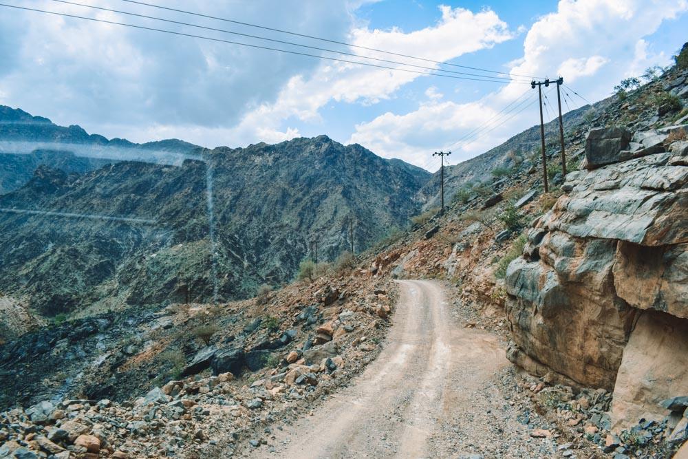 Driving on the Hatt mountain road, Oman