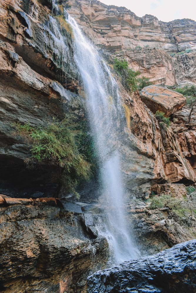 The waterfall at the end of the Jebel Shams Balcony Walk in Oman
