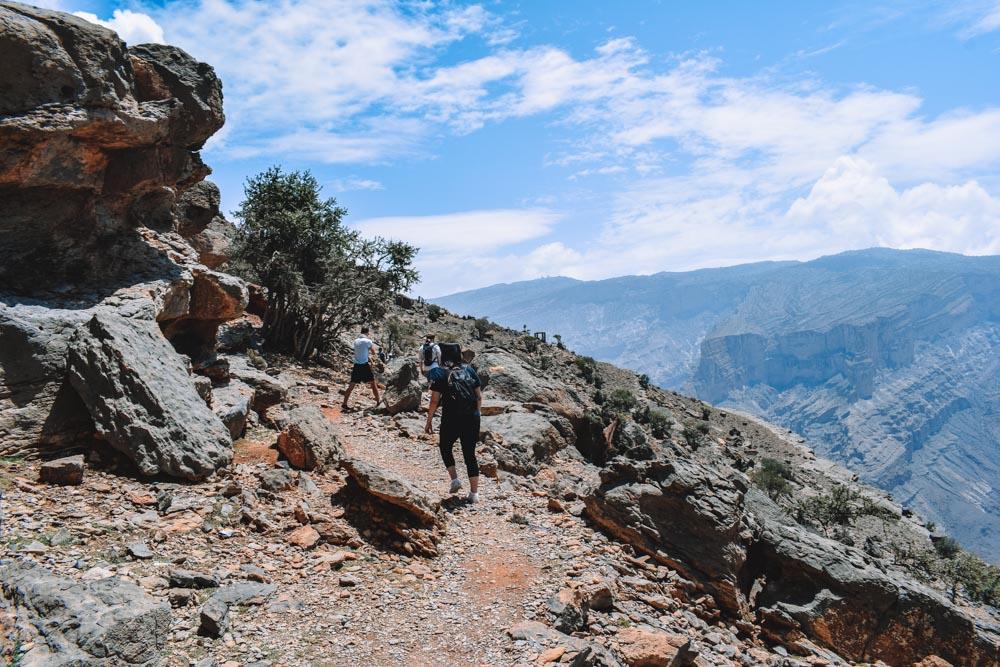 Hiking along the Jebel Shams Balcony Walk in Oman