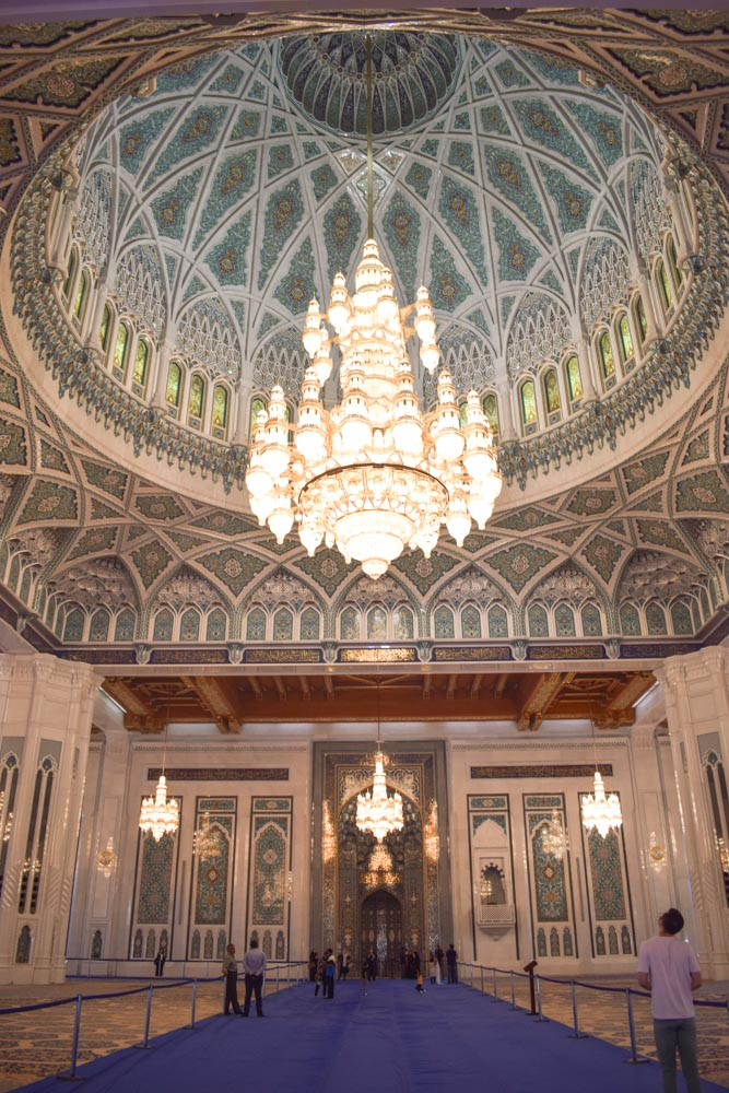 The beautifully decorated interior of the Sultan Qaboos Grand Mosque in Muscat