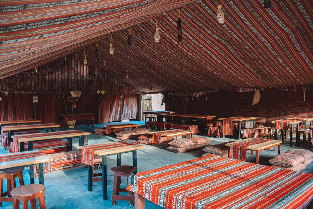 The common and dining area of Sama Al Wasil Desert Camp