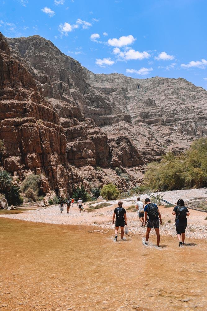 Hiking in the Wadi Shab in Oman