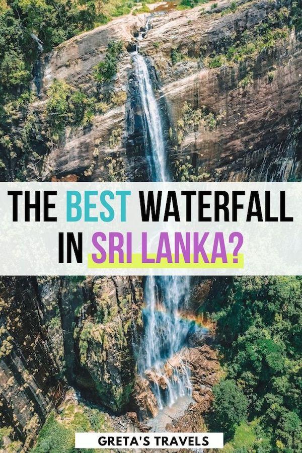 "Drone shot of the 220m drop of Diyaluma Falls in Sri Lanka, with text overlay saying ""the best waterfall in Sri Lanka?"""