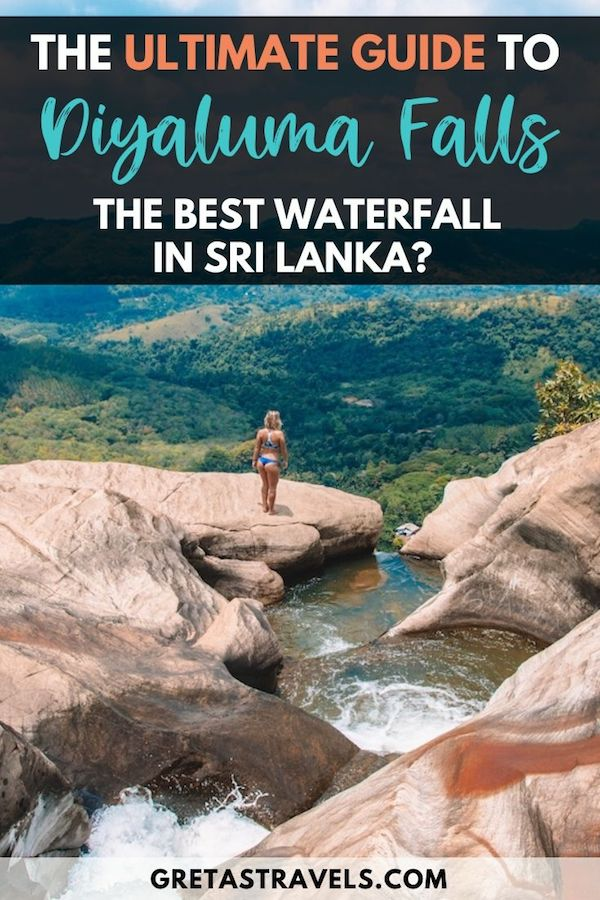 """The top rock pool of Diyaluma Falls with view and text overlay saying """"the ultimate guide to Diyaluma Falls: the best waterfall in Sri Lanka?"""""""
