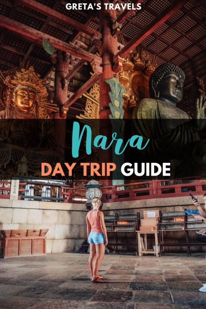 """Blonde girl standing in the middle of Todaiji temple admiring the huge statues with text overlay saying """"Nara: Day trip guide"""""""