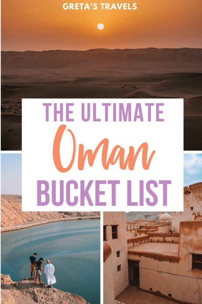 """Collage of the sunrise in the desert in Oman, three boys overlooking the Sur harbour and Nizwa fort with text overlay saying """"The ultimate Oman bucket list"""""""