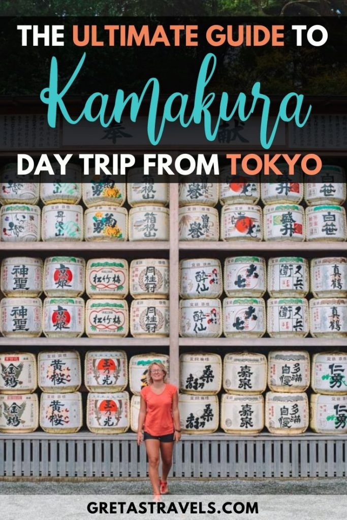 "Blonde girl in a pink t-shirt walking in front of white sake barrels at a temple in Kamakura with text overlay saying ""the ultimate guide to Kamakura, day trip from Tokyo"""