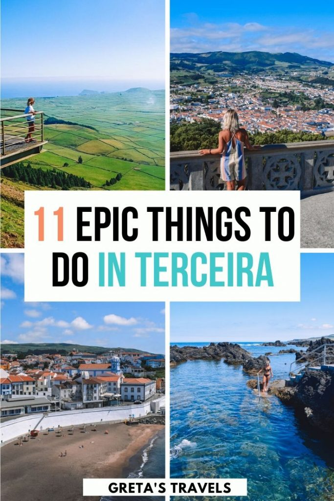 """Photo collage of the biscoitos natural pools, angra do heroismo and the mirador de serra do coume in Terceira with text overlay saying """"11 epic things to do in Terceira"""""""