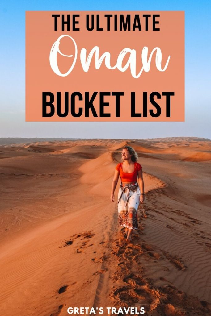 """Blonde girl walking in the Al Wasil desert in Oman, with text overlay saying """"The ultimate Oman bucket list"""""""