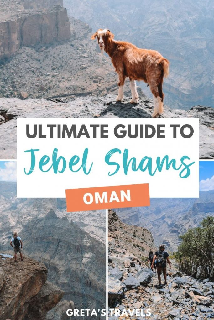 """Collage of photos of people hiking the Jebel Shams Balcony Walk, with views over Wadi Ghul behind and text overlay saying """"ultimate guide to Jebel Shams, Oman"""""""