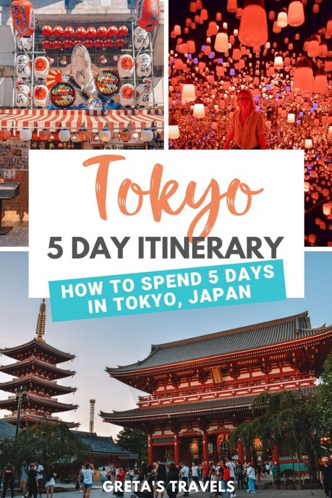 "Collage of Teamlab Borderless musem in Tokyo, Asakusa and Ameyoko with text overlay saying ""Tokyo 5-day itinerary: how to spend 5 days in Tokyo, Japan"""