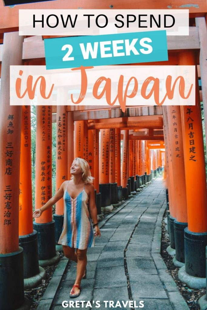 "Blonde girl walking through the red torii gates of Fushimi Inari Taisha in Kyoto, with text overlay saying ""How to spend 2 weeks in Japan"""