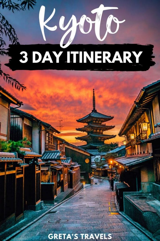 """The street leading up to the Hokkanji temple pagoda at sunset, with a beautiful red sky and text overlay saying """"Kyoto 3-day itinerary"""""""