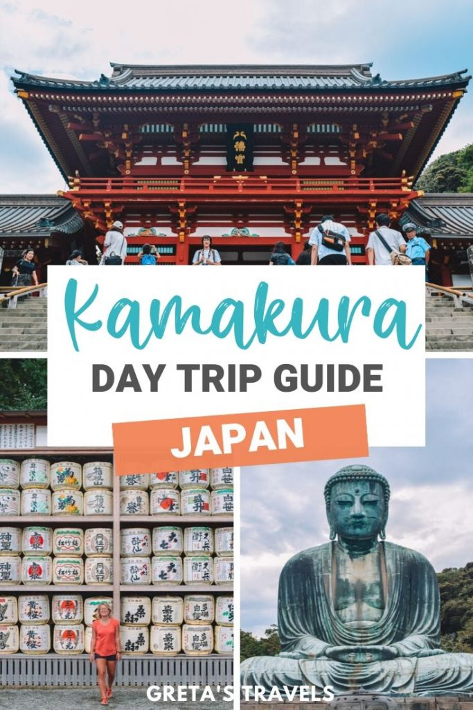 "Collage of the big buddha of Kamakura, white sake barrels and one of the famous Kamakura temples with text overlay saying ""Kamakura day trip guide, Japan"""