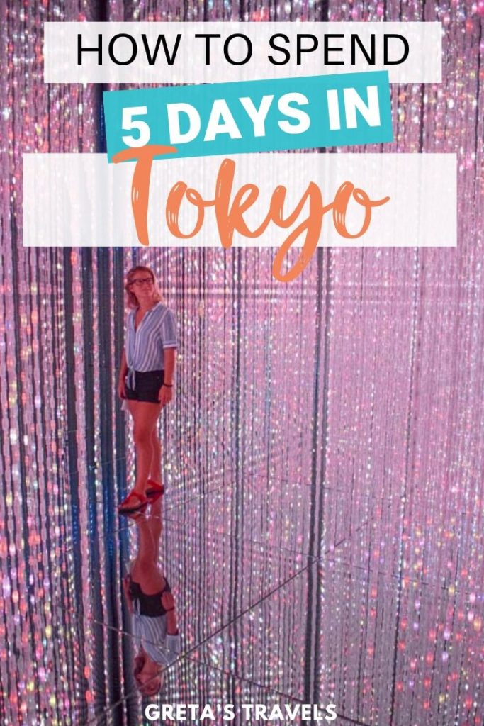 "Girl in the infinity room of Teamlab Borderless in Tokyo, surrounded by sparkly lights, with text overlay saying ""How to spend 5 days in Tokyo"""
