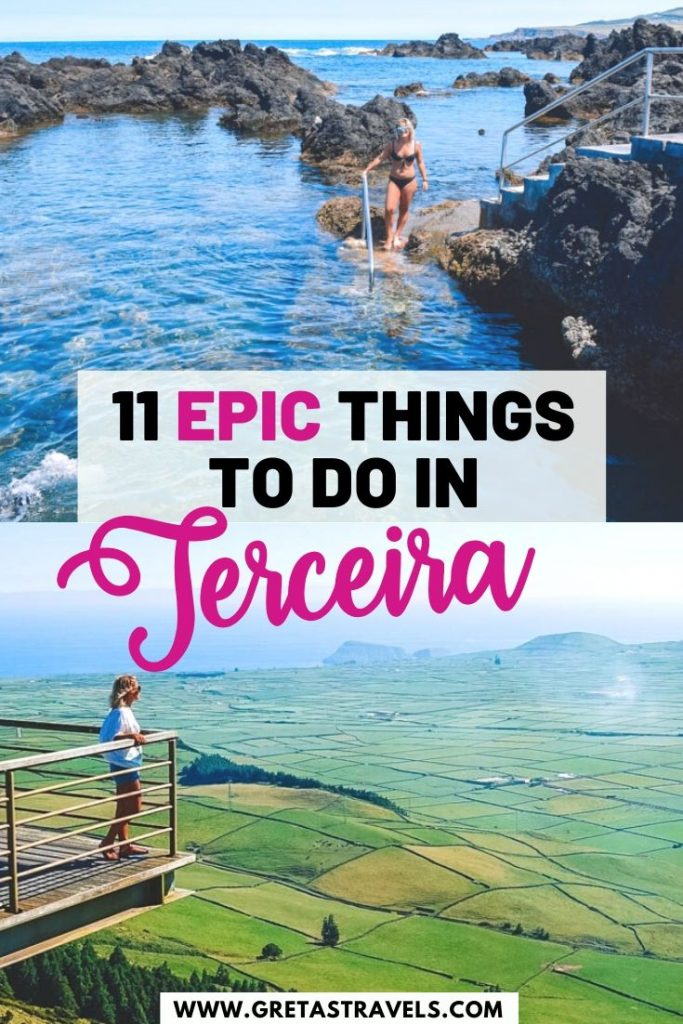 """Photo collage of the biscoitos natural pools and the mirador de serra do coume in Terceira with text overlay saying """"11 epic things to do in Terceira"""""""
