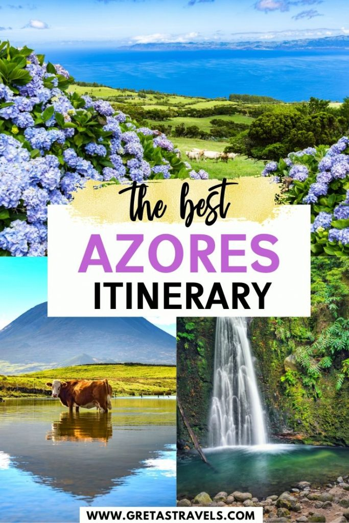 "Collage of the green parks and waterfalls in the Azores Islands, with text overlay saying ""The best Azores itinerary"""