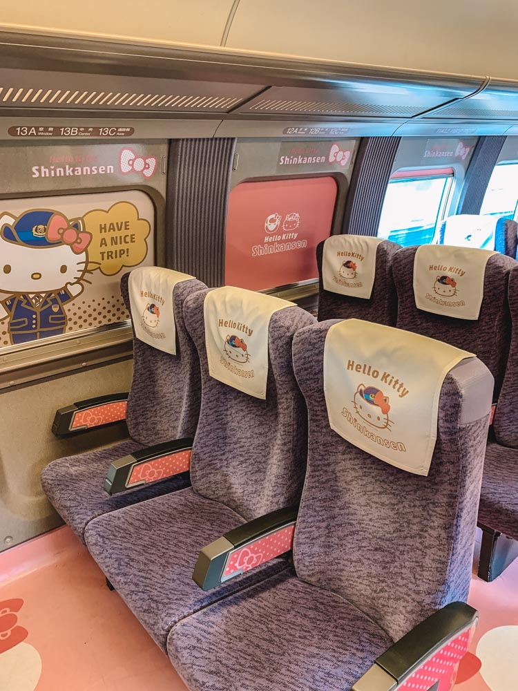 The seats on the Hello Kitty Shinkansen train from Hiroshima to Osaka