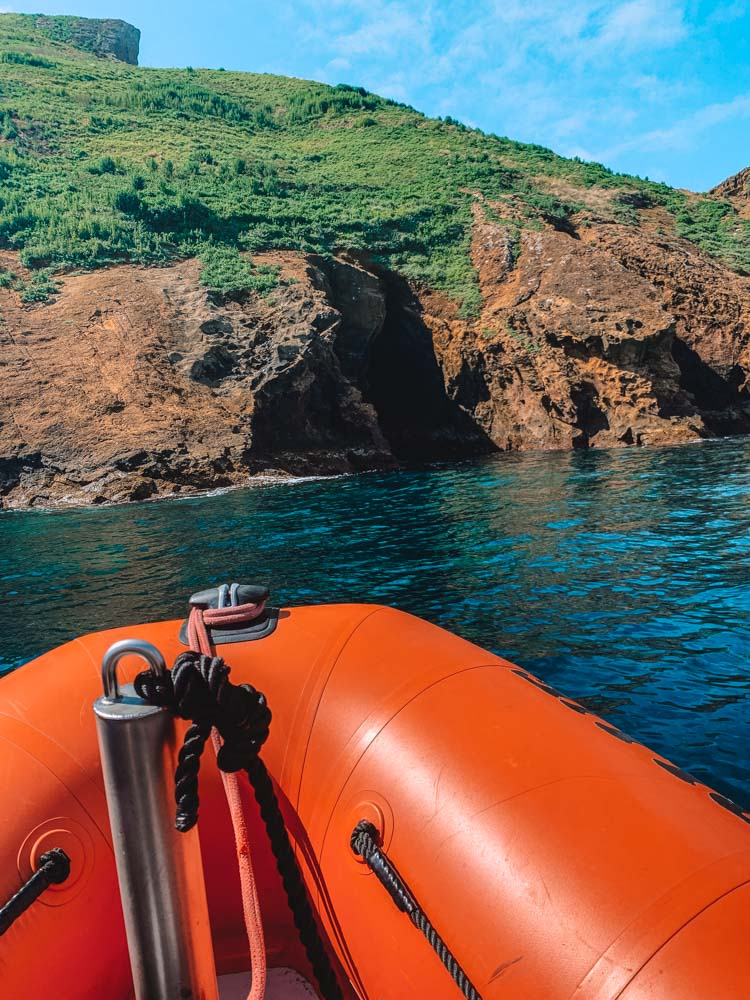 The view from our boat of the coast and caves where we then snorkelled on Terceira Island