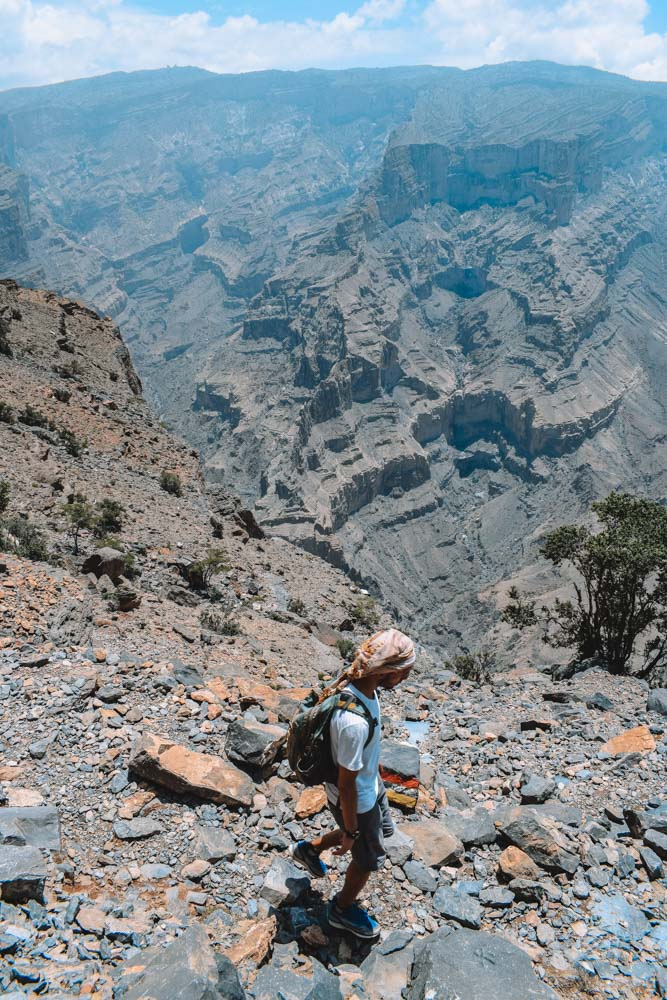 Hiking along the Jebel Shams Balcony Walk, with a constant view of the Wadi Ghul