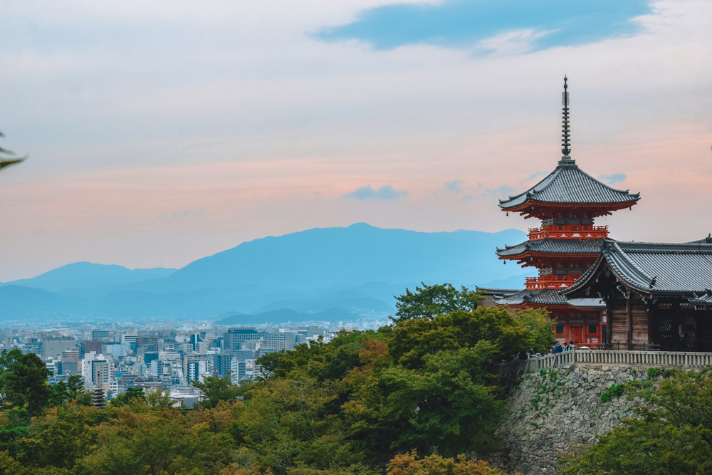 The view from Kiyomizudera temple over its main pagoda and Kyoto in the background