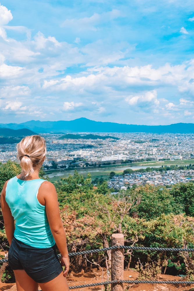 Enjoying the view over Kyoto from the top of Arashiyama Monkey Park
