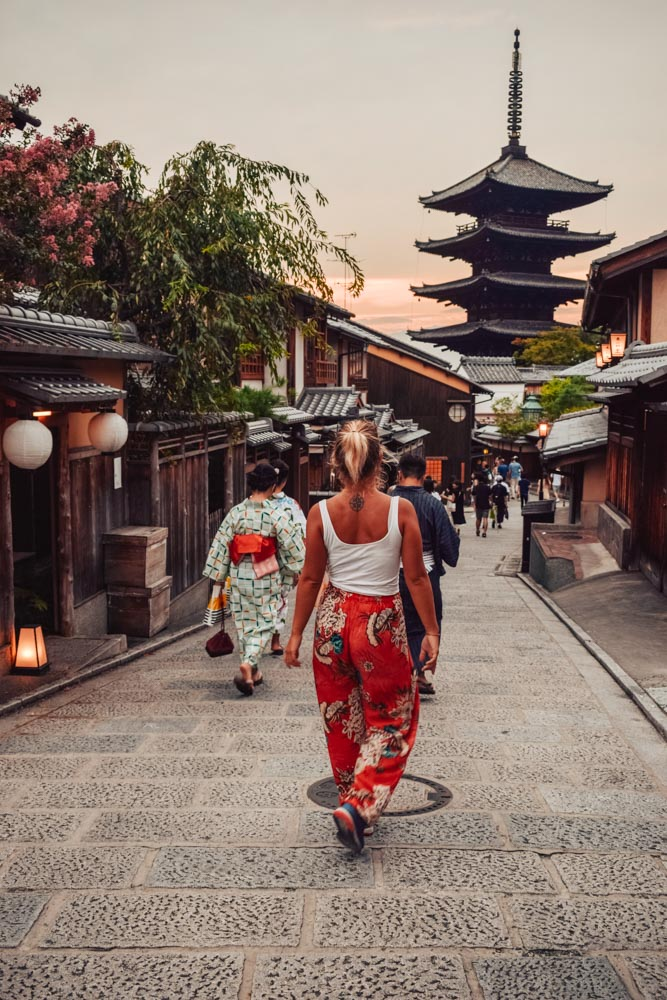 Wandering the streets of Kyoto under the distinctive Hokanji temple pagoda