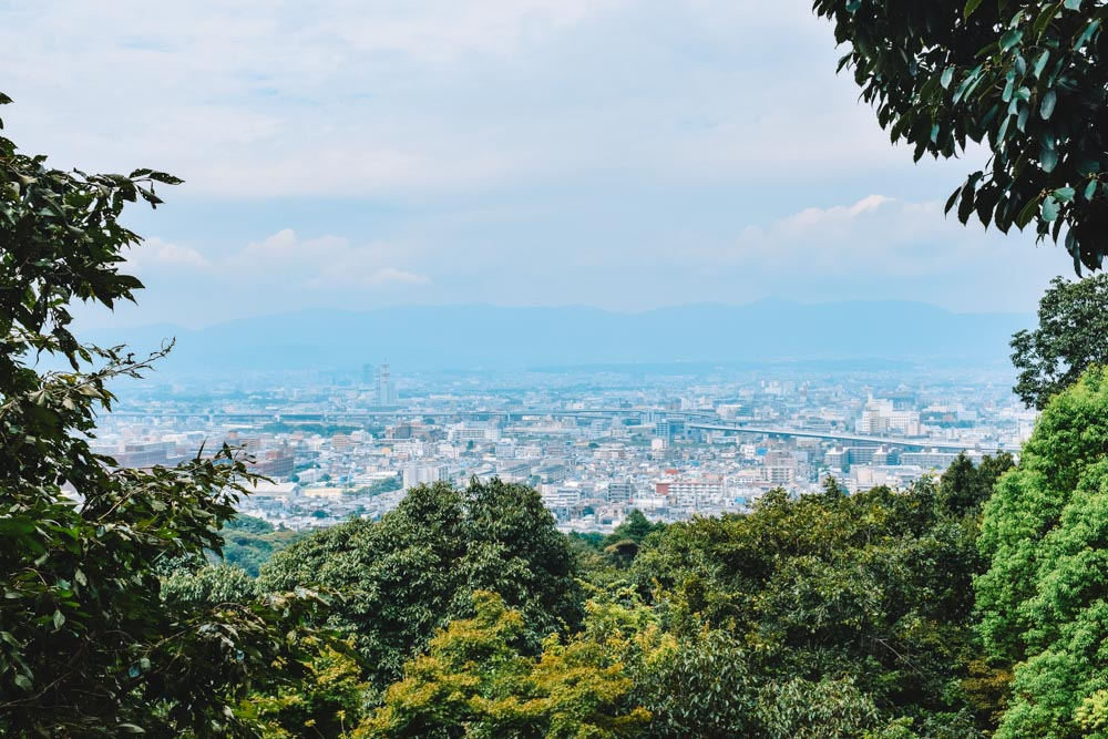 The view over Kyoto from the top of the hill where Fushimi Inari Taisha is located, away from the bigger crowds