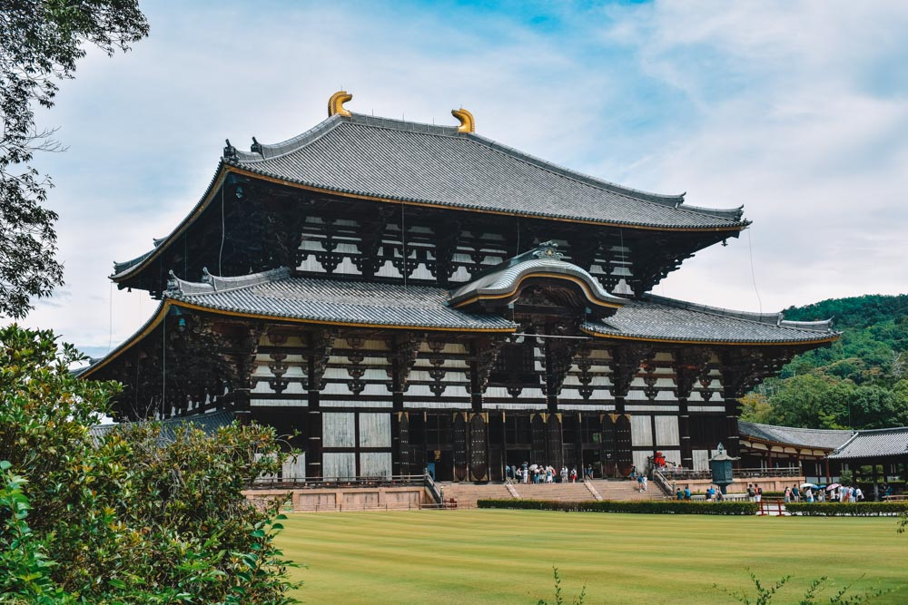 The outside of Todaiji temple in Nara, Japan