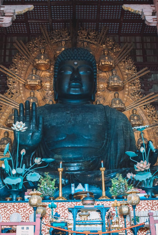 One of the buddha statues inside Todaiji temple in Nara, Japan