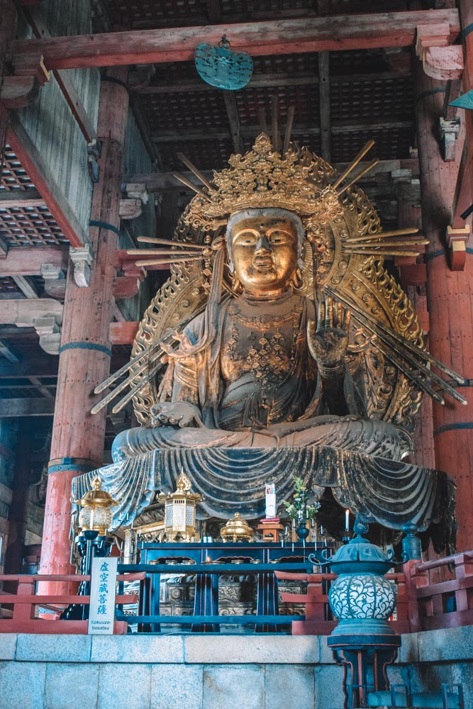 One of the statues inside Todaiji temple in Nara, Japan