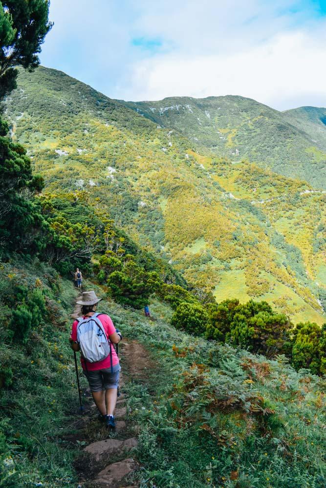 Hiking along the Caldeira de Santo Cristo hike in Sao Jorge island
