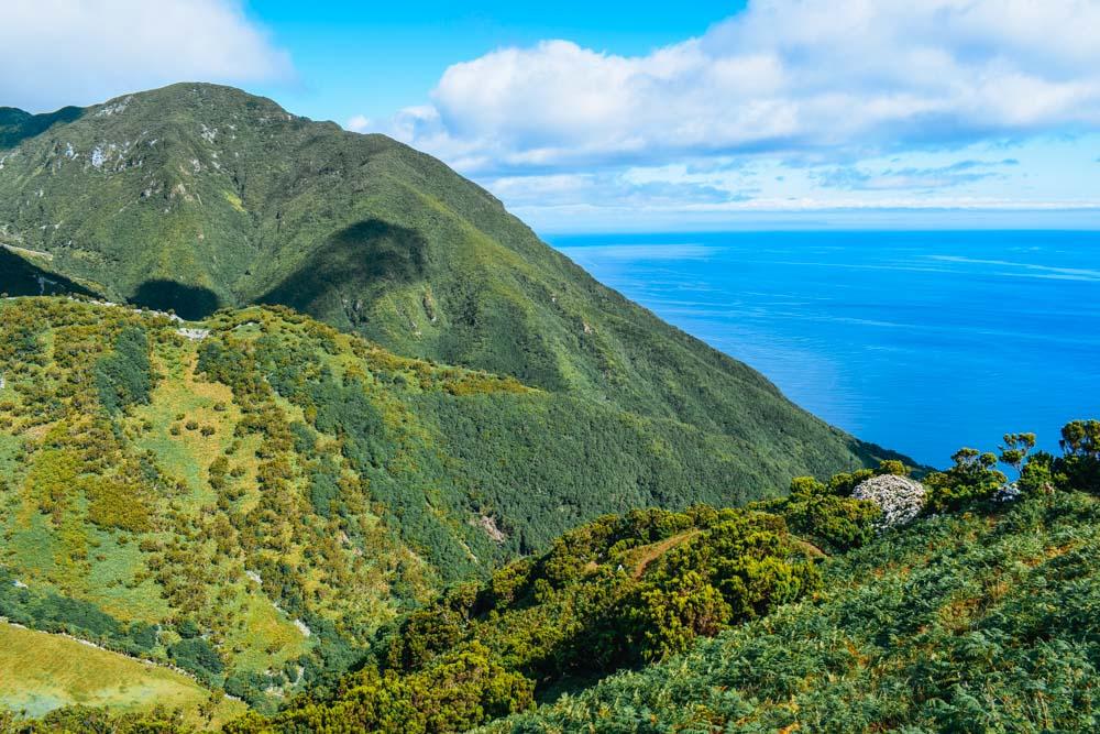 Cliff and sea views during the Caldeira de Santo Cristo hike on Sao Jorge island