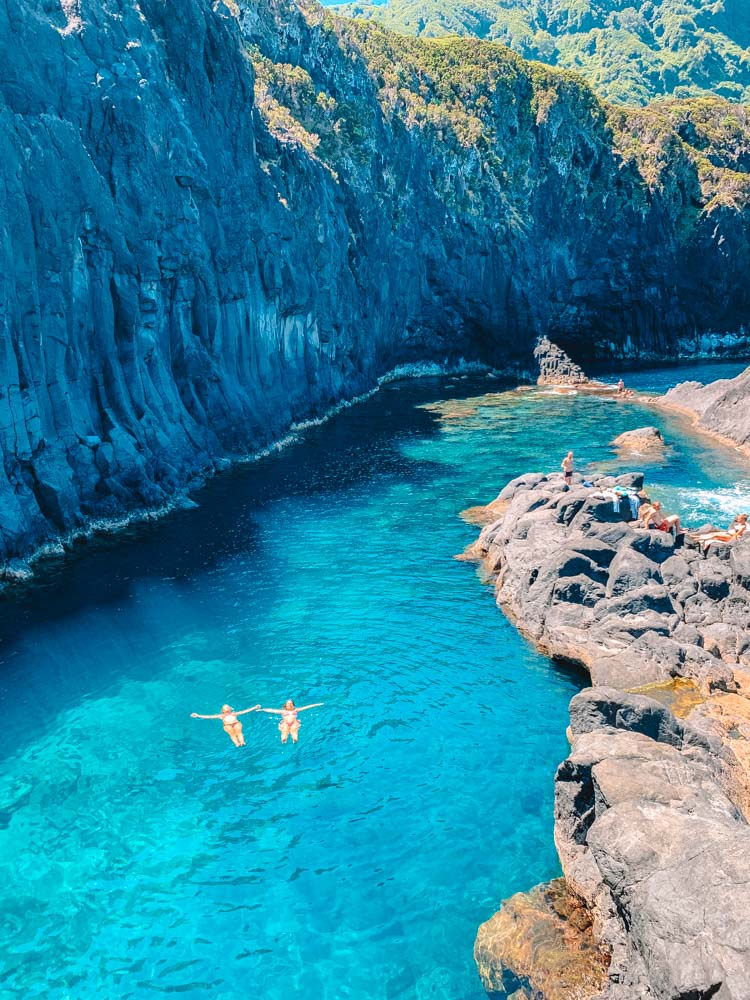 Floating in the Simao Dias natural pools on Sao Jorge Island