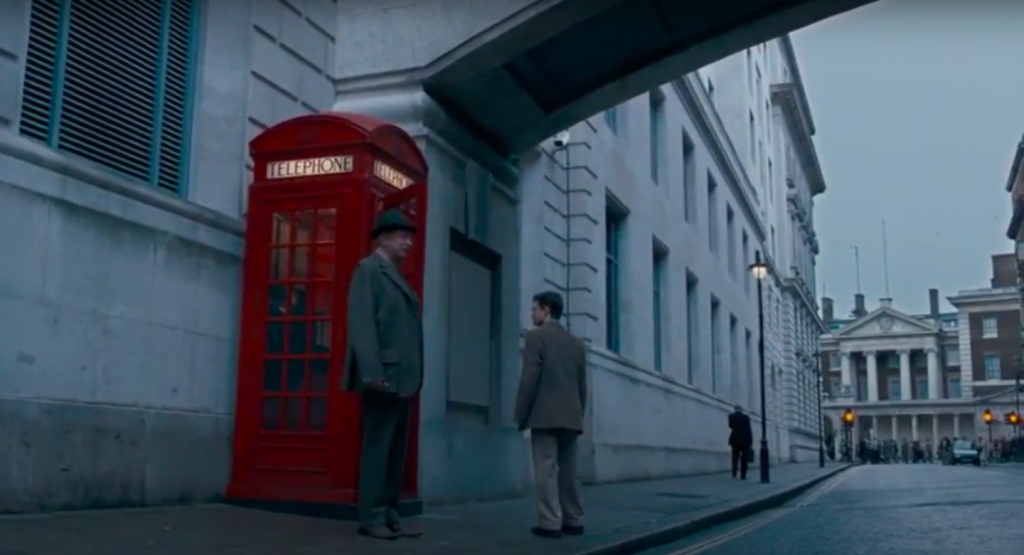 Harry Potter and Mr Weasley entering the Ministry of Magic via the phone box in Scotland Place